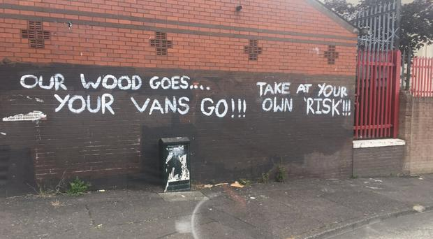 One of the messages left on a wall in the New Lodge area of north Belfast