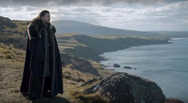Jon Snow, played by Kit Harington, looks out from Fairhead during the latest episode of Game Of Thrones