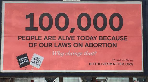 The billboard advert by pro-life lobby group Both Lives Matter