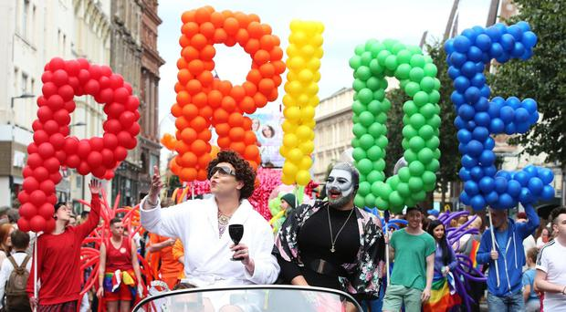 People take part in Belfast's annual Pride parade