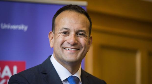Leo Varadkar speaks during a press conference at Queen's University in Belfast on his first visit to Northern Ireland as Irish Taoiseach