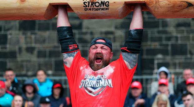 Scotland's John Pollock competes during the Ultimate Strongman Masters World Championship final at Crumlin Road Gaol in Belfast. PRESS ASSOCIATION Photo. Picture date: Sunday August 6, 2017. Photo credit should read: Brian Lawless/PA Wire