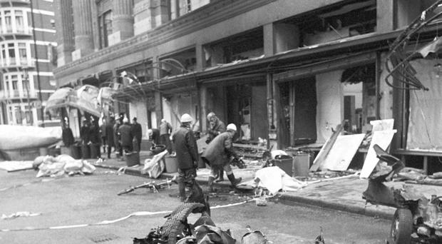 A car bomb planted by the IRA killed five people outside Harrods in London during the Troubles