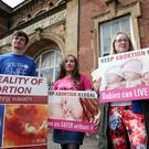 Pro-life protesters outside Falls Library in Belfast (stock picture)