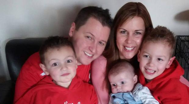 Jude Armstrong with husband Nathan and their sons Mason, Ronan and Connor