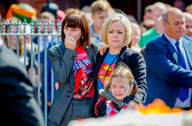 The funeral of Jayden Morrow takes place as Super Heroes gather at Willowfield Church in Belfast