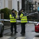 Gardai outside the Regency Hotel in Dublin after David Byrne was killed in a shooting incident at the hotel