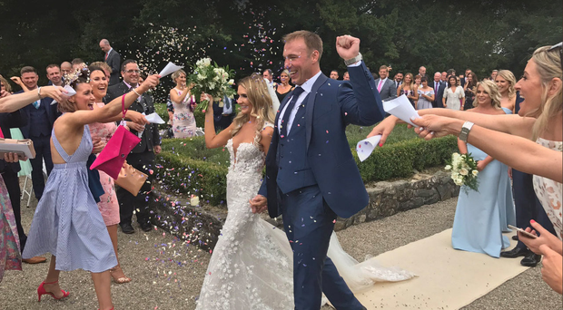 Stephen Ferris and wife Laura on their wedding day