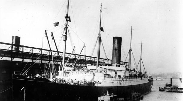 Rescue ship Carpathia docked in New York