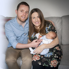 DUP Londonderry MLA Gary Middleton pictured with his wife Julie and their son, David (4 days old) at their Bready home yesterday afternoon.