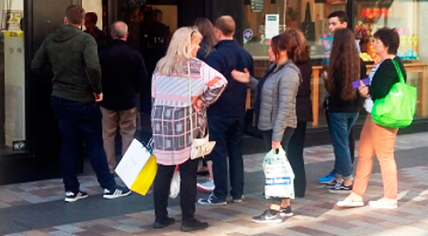A queue outside Lush in Belfast yesterday ahead of the delivery of a new cream to help sleep