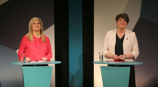 Michelle O'Neill and Arlene Foster (right) both condemned the attacks