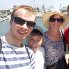 Oisin, Odhran, Shona, Caolan and Tiernan Harkin pose for a picture in Barcelona shortly before the terror attack