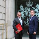 International Trade Secretary Liam Fox (left) with the Government's new chief trade negotiation adviser Crawford Falconer (DIT/PA)