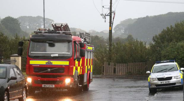 Firefighters at scene of a lightning strike in Ballycastle Co Antrim