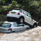 Cars washed into the River Faughan in Drumahoe, Londonderry