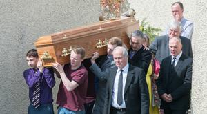 Family and friends at the funeral of Emma Doogan in Omagh yesterday