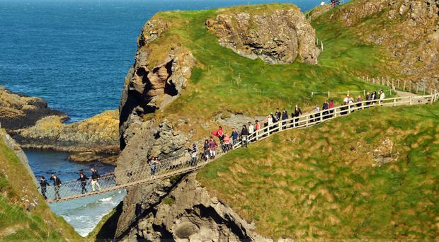 Carrick-a-Rede rope bridge and Carrick-a-Rede island