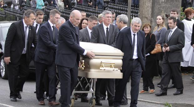 Friends and family at the funeral in Portstewart of Craig Church
