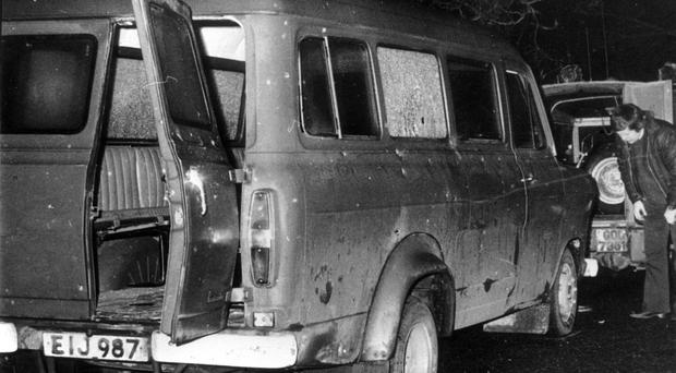 The bullet-riddled minibus in South Armagh where 10 Protestant textile workers were shot dead in a republican paramilitary roadside ambush in January 1976