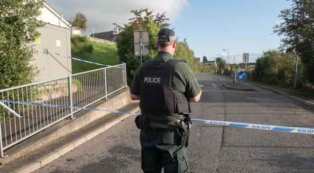 A police officer at the scene of the incident in Londonderry