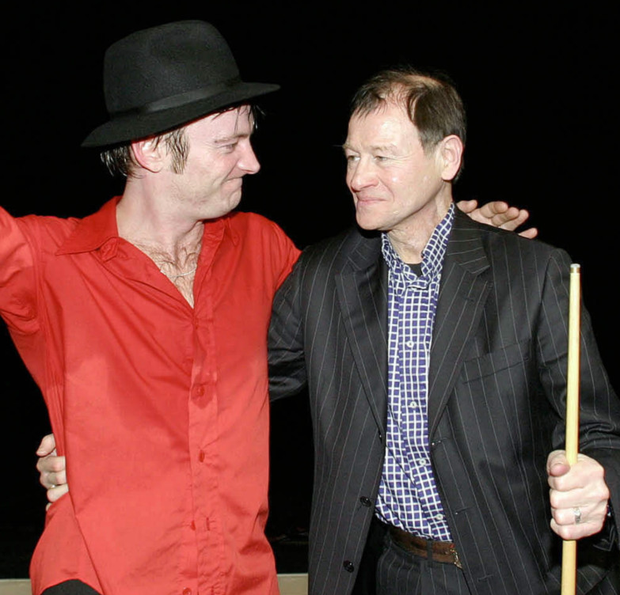 Richard Dormer with Alex Higgins at the West End production of Hurricane