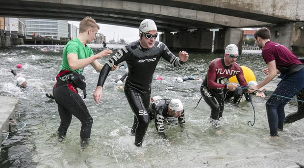 Hundreds of swimmers in Belfast Harbour