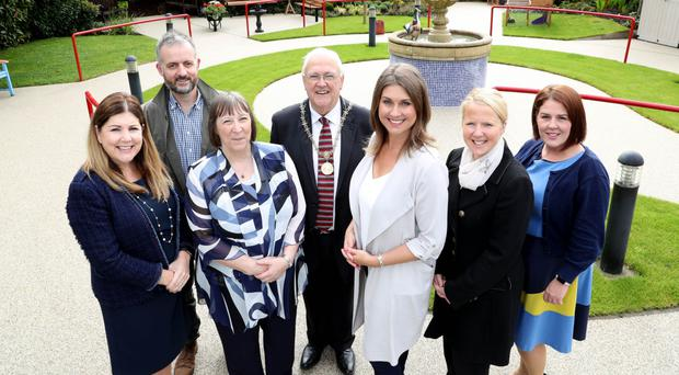 Michelle Hatfield, George Best Belfast City Airport; Richard Rogers from the Alpha Programme; Geraldine Gilpin, Abbeyfield & Wesley Housing Association; High Sheriff of Belfast, Alderman Tom Haire; Sarah Travers; Paula Bittles, Belfast City Airport; and Paula Quigley, Groundwork NI