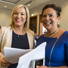 Sinn Fein's Michelle O'Neill and Mary Lou McDonald in Co Meath yesterday