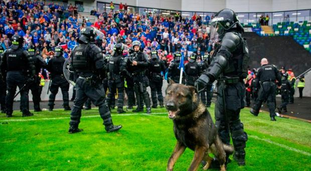 Riot police on the field following Linfield's European game with Celtic at Windsor Park in July