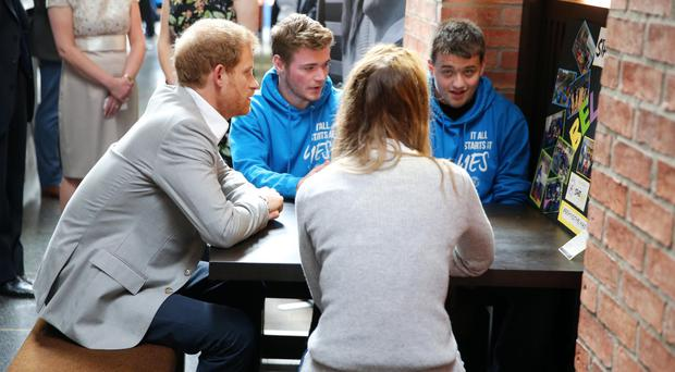 Harry meets young people at the Mac