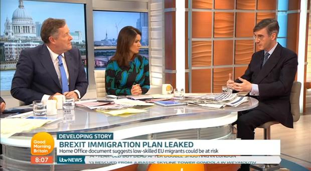 Straight talking: Jacob Rees-Mogg with Susanna Reid and Piers Morgan condemned both abortion and gay marriage on Good Morning Britain