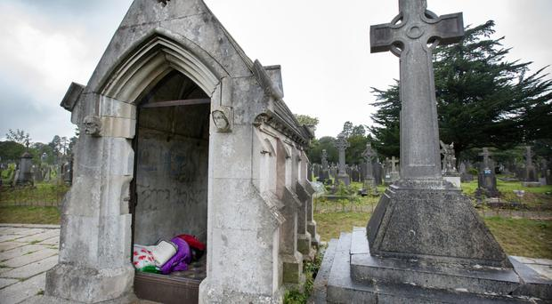 The mausoleum where the homeless pair were found sleeping rough