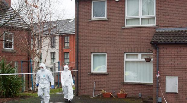 Forensics officers at the murder scene in Ravenhill Court in 2013