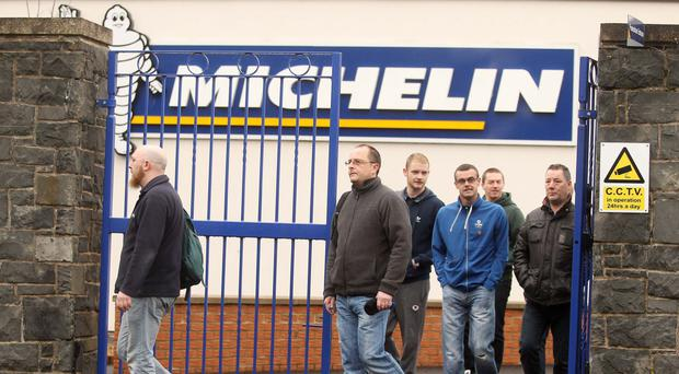 Workers leave the Michelin plant in Ballymena