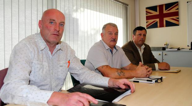 Robin Stewart, Jim Wilson and David Campbell at the announcement by Loyalist Communities Council