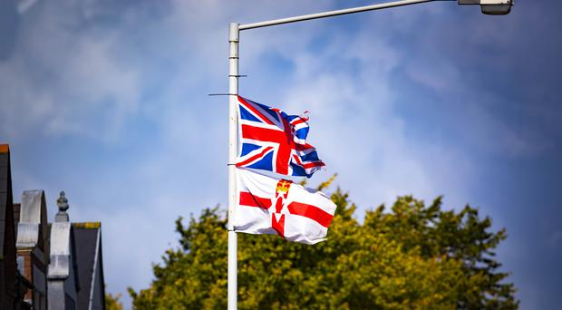 Union flags on the Ormeau Road in south Belfast.