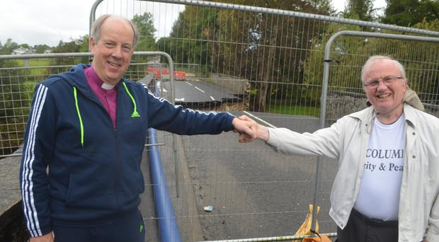 Bishop Ken Good and (right) Bishop Donal McKeown