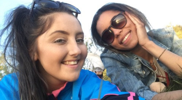 Hannah Molloy (left) with her friend Ciara Martin. Hannah died when she was in a single-vehicle accident on Saturday