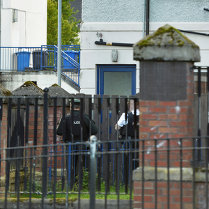 Police attend the scene of the tragic death in the Bogside in Londonderry