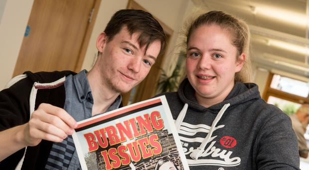 Seamus McGlinchey and Britney Heatherington who both inspired characters in the new Burning Issues graphic novel