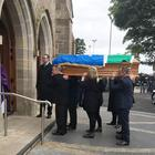 The funeral of David Ward in Dungiven, with the coffin draped in both the tricolour and Starry Plough