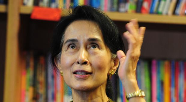 Aung San Suu Kyi during a visit to Belfast in 2013