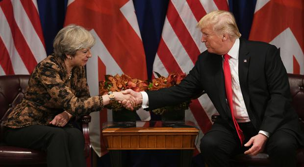 Prime Minister Theresa May meets US president Donald Trump for talks at the Lotte Palace Hotel