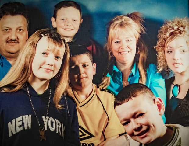 A family portrait of Patricia and Eddie Ferrin with their five children (from left) Seaneen, Kieran (back row), Niall, Stephen and Danielle
