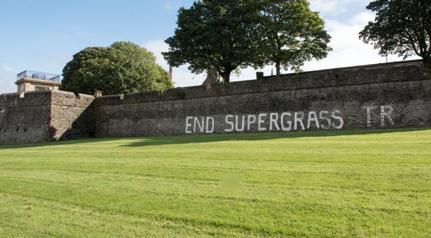 The graffiti which has appeared on Derry's Walls overlooking the Bogside