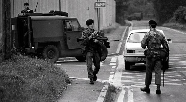 Troops at the scene of the Maze escape in 1983