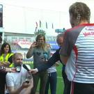 Ciara McGurk and her boyfriend Ryan McCloskey get engaged at the TG4 Ladies All-Ireland Football Championship Finals