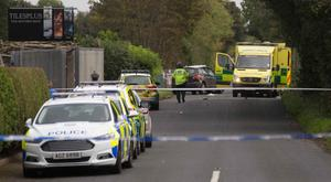 Police attend the accident in Ballymoney where Marcus Forsythe died