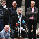 Sinn Fein's Gerry Adams addresses a republican commemoration in Ballymurphy yesterday